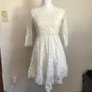 Free People Asymmetric Lace White Dress